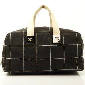 Auth Chanel Choco Bar Cc Handbag Cotton #3406C20